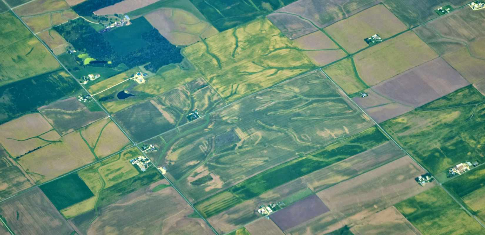 aerial photograph of farmland