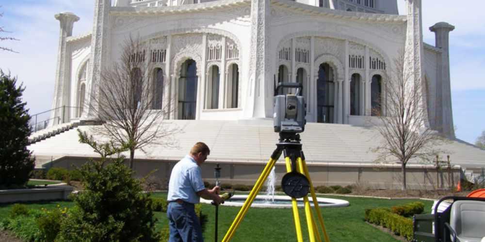 Surveying a religious landmark