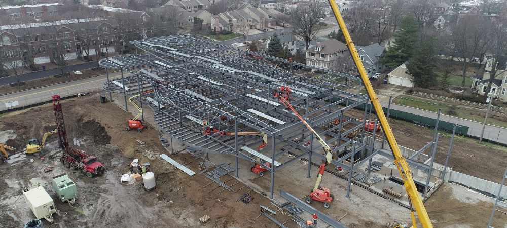Construction site building frame